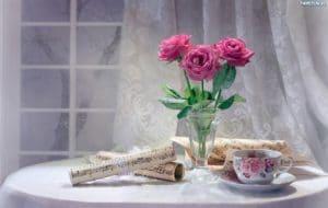 247672 kompozycja bukiet roze filizanka nuty 300x190