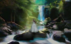 210972 fantasy kobieta kamienie wodospad las 300x188
